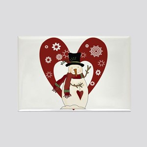 Snowman and Heart Rectangle Magnet