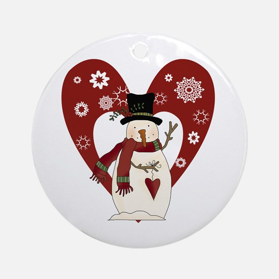 Snowman and Heart Ornament (Round)