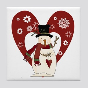 Snowman and Heart Tile Coaster