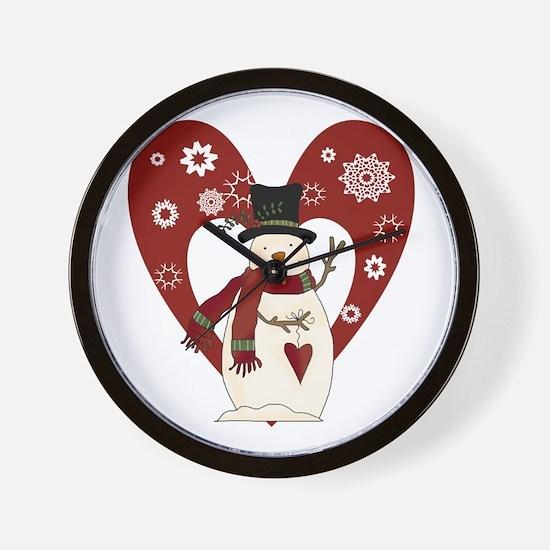 Snowman and Heart Wall Clock