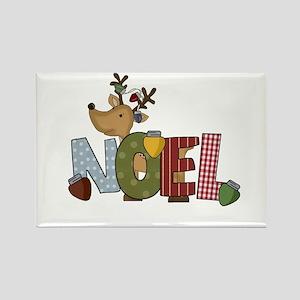 Reindeer Noel Rectangle Magnet