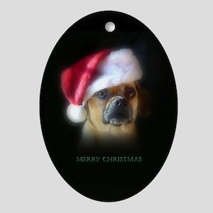 Puggle Christmas Gift Oval Ornament
