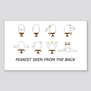 Pianist Seen from the Back (w Rectangle Sticker