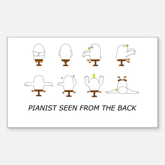 Pianist Seen from the Back (w Rectangle Decal