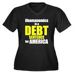 Obamanomics Women's Plus Size V-Neck Dark T-Shirt