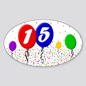 15th Birthday Oval Sticker