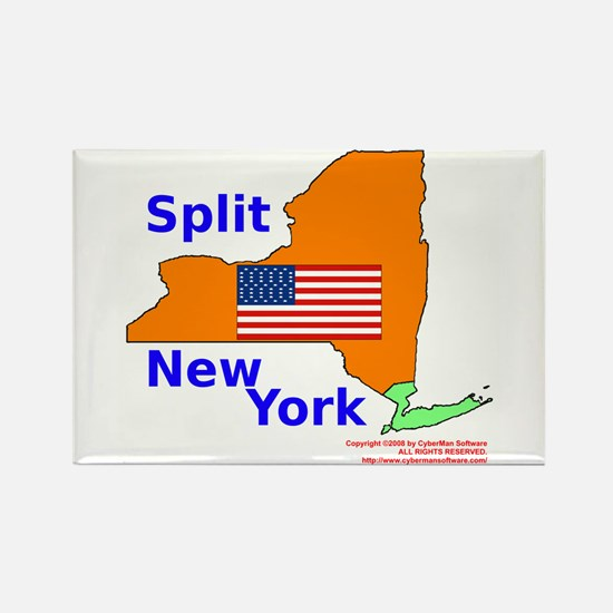 Split New York Rectangle Magnet