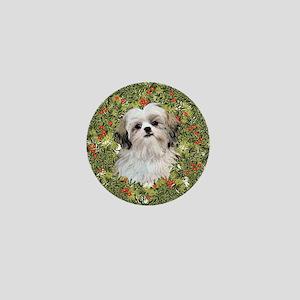 Shih Tzu Xmas Wreath Mini Button