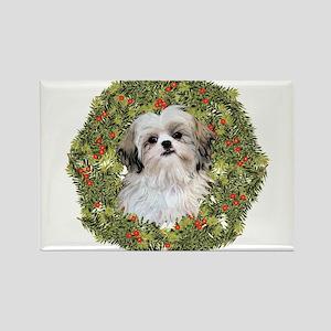 Shih Tzu Xmas Wreath Rectangle Magnet