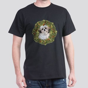 Shih Tzu Xmas Wreath Dark T-Shirt