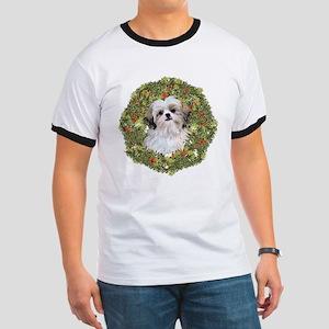 Shih Tzu Xmas Wreath Ringer T