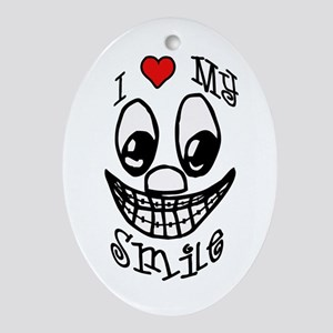 I Love My Smile Oval Ornament