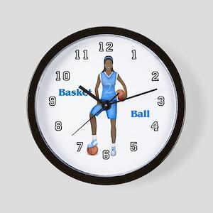 African American Basketball Player Wall Clock