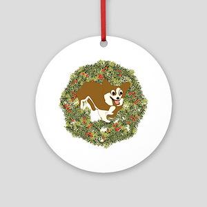 Corgi Xmas Wreath Ornament (Round)
