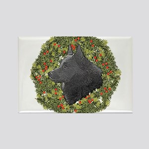 Schipperke Xmas Wreath Rectangle Magnet