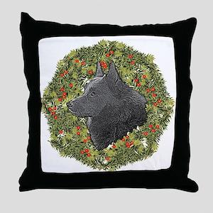 Schipperke Xmas Wreath Throw Pillow