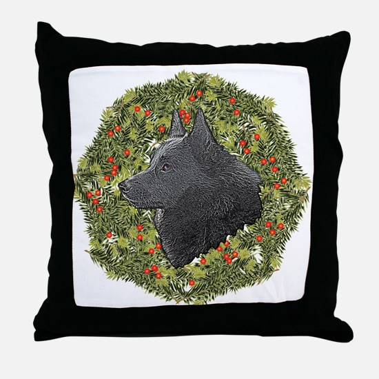 Schipperke Xmas Wreath Throw Pillow