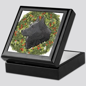 Schipperke Xmas Wreath Keepsake Box