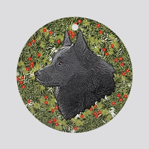 Schipperke Xmas Wreath Ornament (Round)