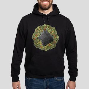 Schipperke Xmas Wreath Hoodie (dark)