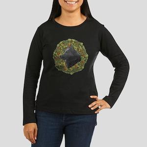 Schipperke Xmas Wreath Women's Long Sleeve Dark T-