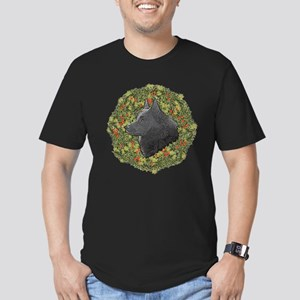 Schipperke Xmas Wreath Men's Fitted T-Shirt (dark)