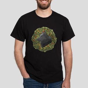 Schipperke Xmas Wreath Dark T-Shirt