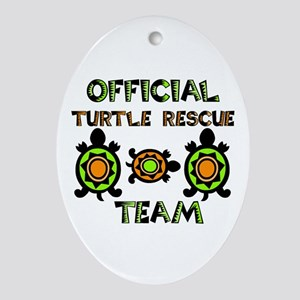 Turtle Rescue Oval Ornament