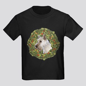 Scotty (Wheaten) Xmas Wreath Kids Dark T-Shirt