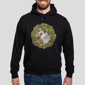 Scotty (Wheaten) Xmas Wreath Hoodie (dark)
