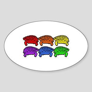 Rainbow Turtles Oval Sticker