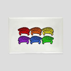 Rainbow Turtles Rectangle Magnet