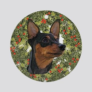 Miniature Pinscher Xmas Wreath Ornament (Round)