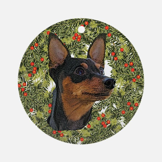 Miniature Pinscher Xmas Wreath Ornament (Round)