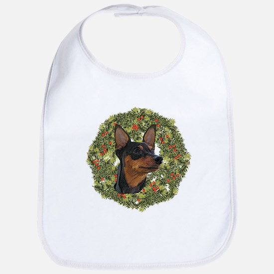 Miniature Pinscher Xmas Wreath Bib