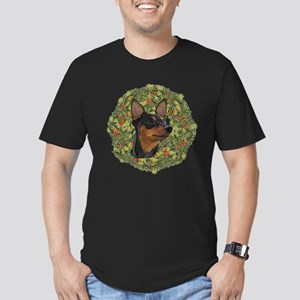 Miniature Pinscher Xmas Wreath Men's Fitted T-Shir