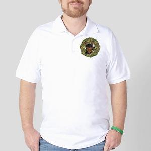 Miniature Pinscher Xmas Wreath Golf Shirt