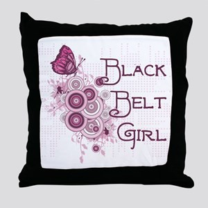 Black Belt Girl Throw Pillow
