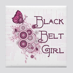 Black Belt Girl Tile Coaster