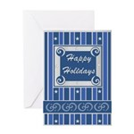 Happy Holidays Blue & Silver Greeting Card