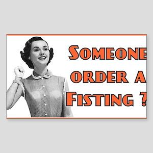 funny fisting retro Rectangle Sticker