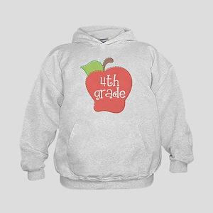 School Apple 4th Grade Kids Hoodie
