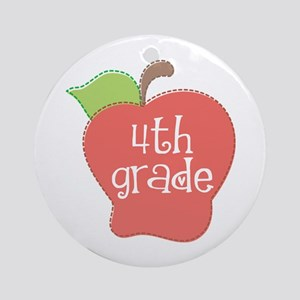 School Apple 4th Grade Ornament (Round)