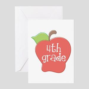 School Apple 4th Grade Greeting Card