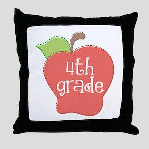 School Apple 4th Grade Throw Pillow