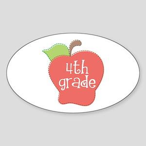 School Apple 4th Grade Oval Sticker