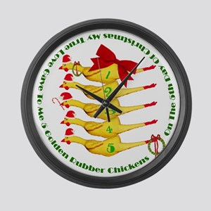 5 Rubber Chickens Large Wall Clock