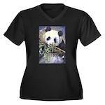 Panda Women's Plus Size V-Neck Dark T-Shirt