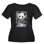 Panda Women's Plus Size Scoop Neck Dark T-Shirt