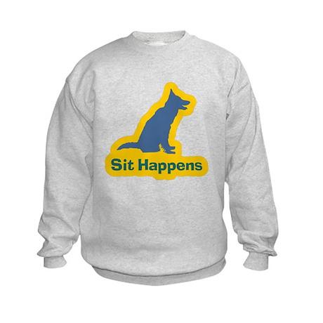 Sit Happens Dog Gifts Kids Sweatshirt